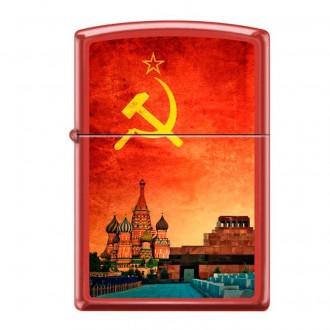 Зажигалка ZIPPO Красная Москва Red Matte