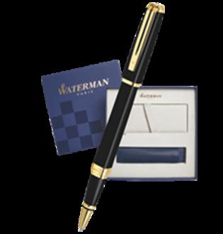 Подарочный набор Ручка-роллер Waterman Exception Slim Black Lacquer GT с чехлом